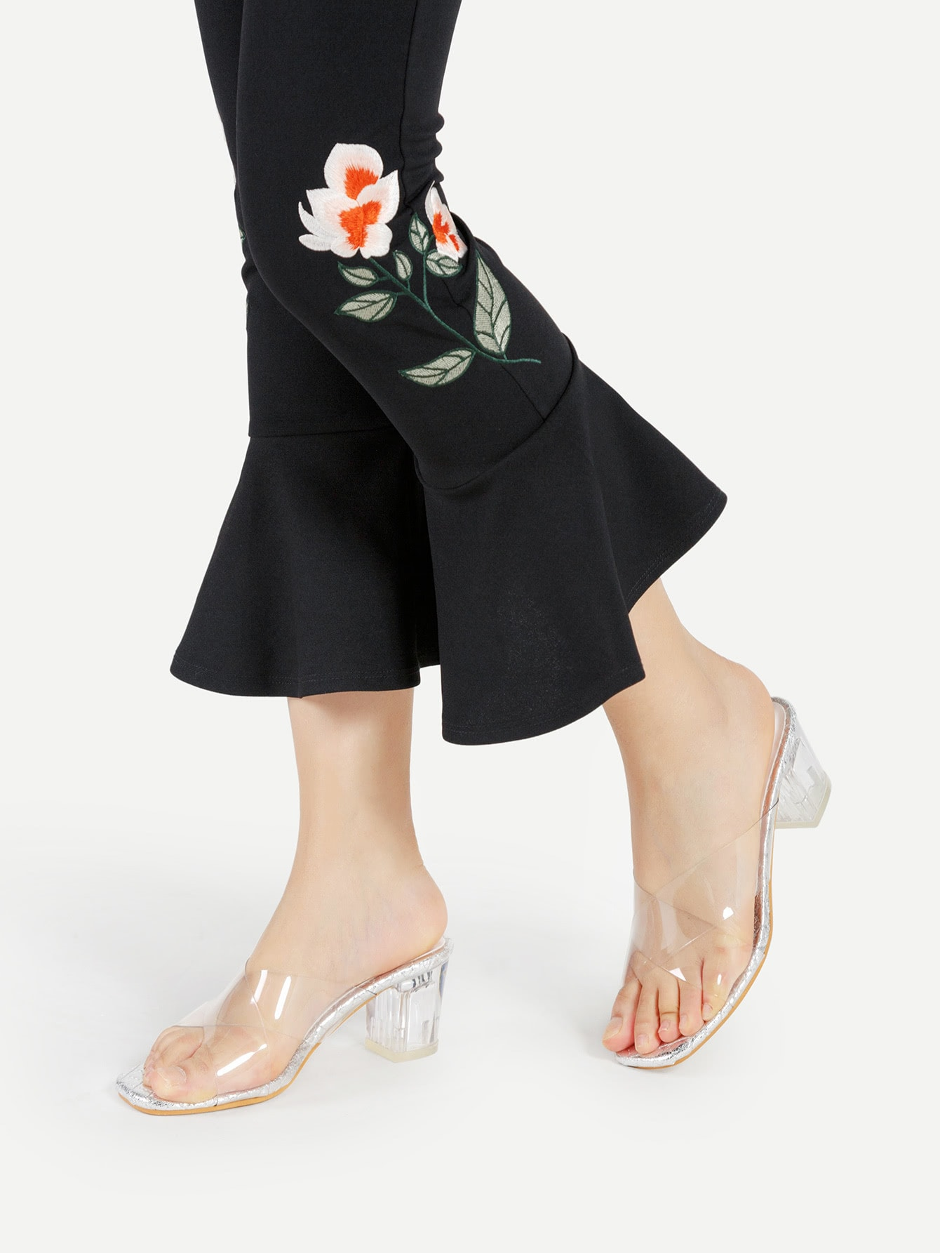 Image of Clear Design Criss Cross Chunky Heeled Sandals