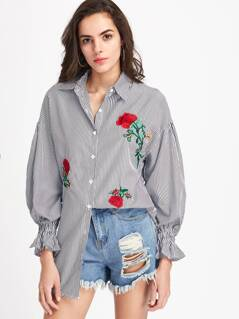 Flower Embroidery Vertical Striped Shirt Dress