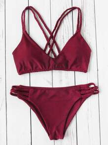 Braided Strap Cross Back Bikini Set