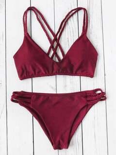 Braided Strap Cross Back Bikini Set