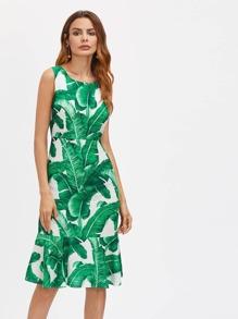 Palm Leaf Print Zipper Back Dress