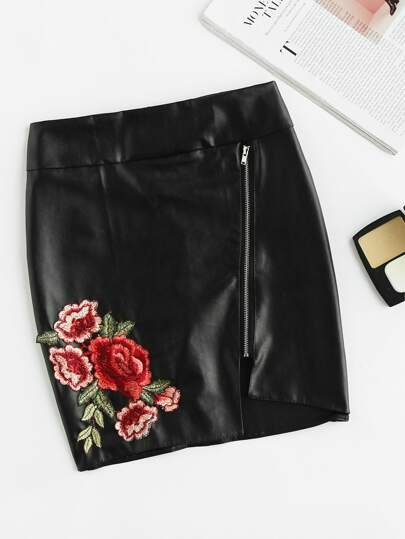 Rose Applique Asymmetric Hem Pu Skirt