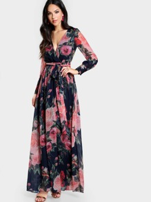 Rose Print Cuffed Long Sleeve Belted Wrap Dress