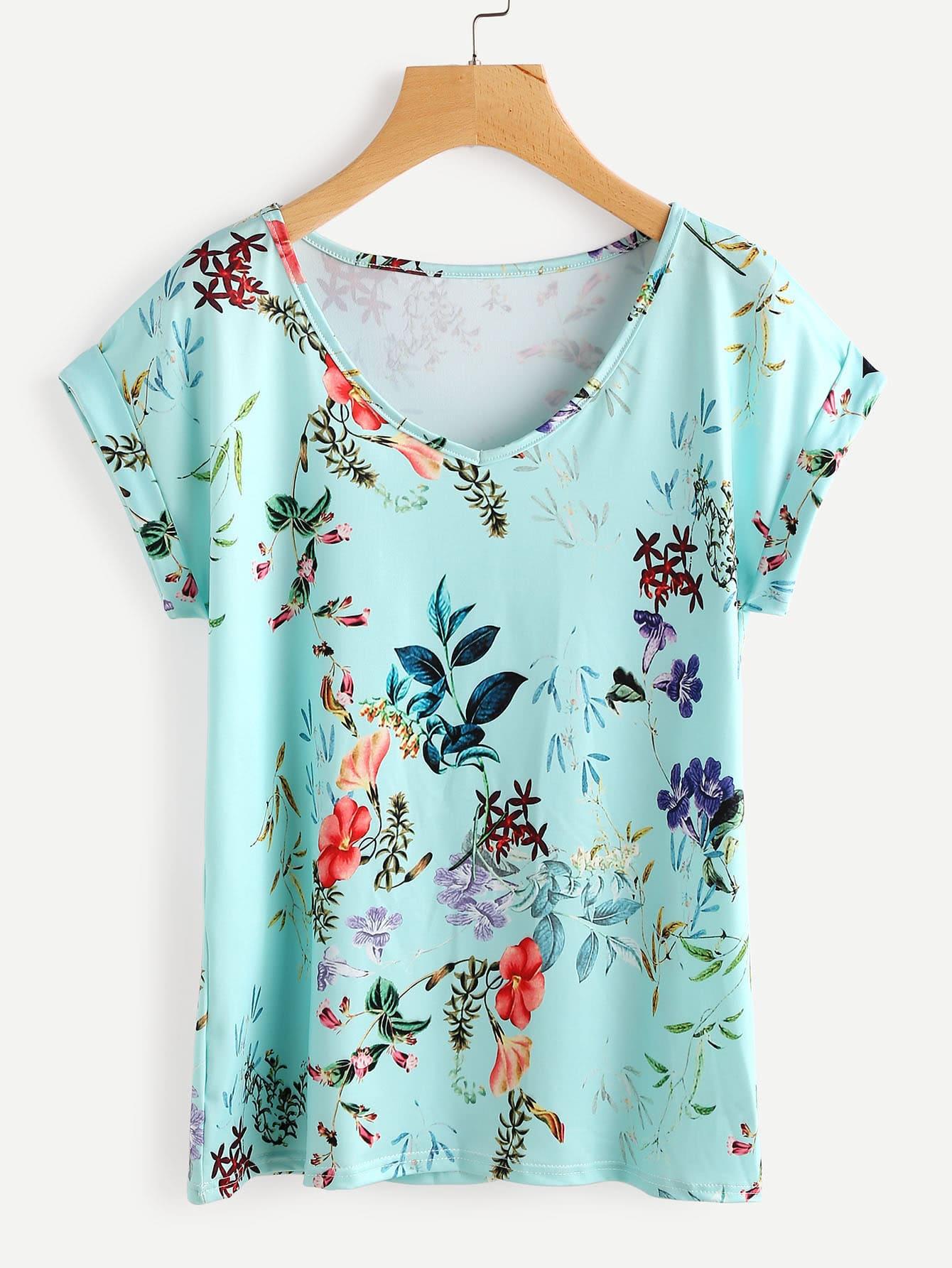 Rolled Cuff Flower Print T-shirt redfox футболка flower t 42 4300 желтый