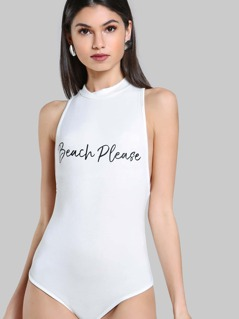 Mock Neck Racerback Bodysuit