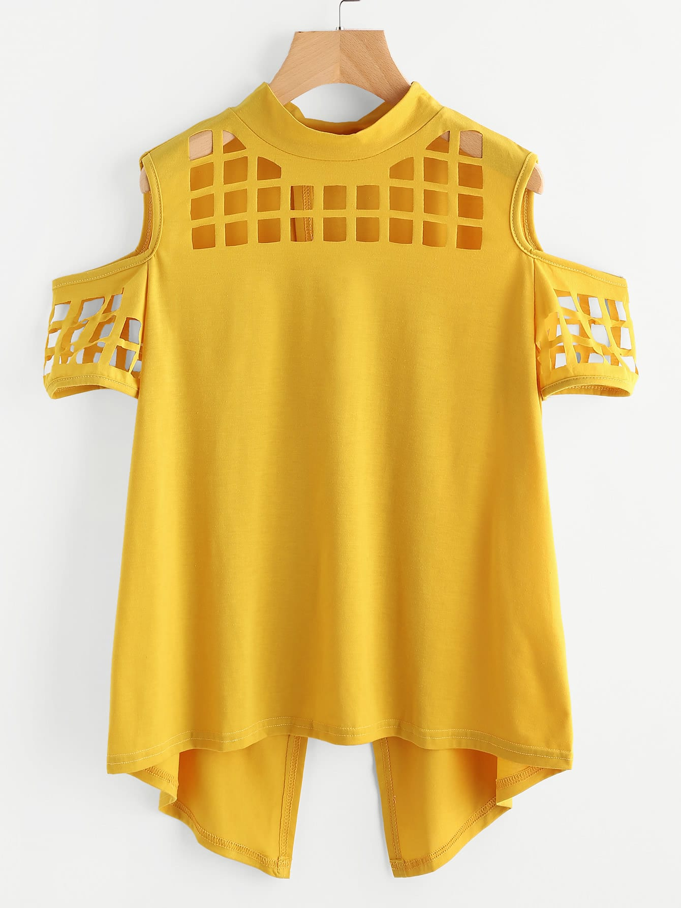 mustard yellow could shoulder laser cut split back shirt