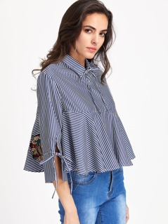 Band Collar Vertical Striped Tie Sleeve Blouse