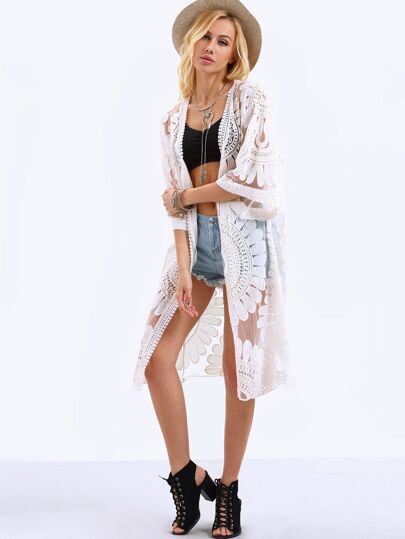 Open Front Flower Embroidered Mesh Kimono