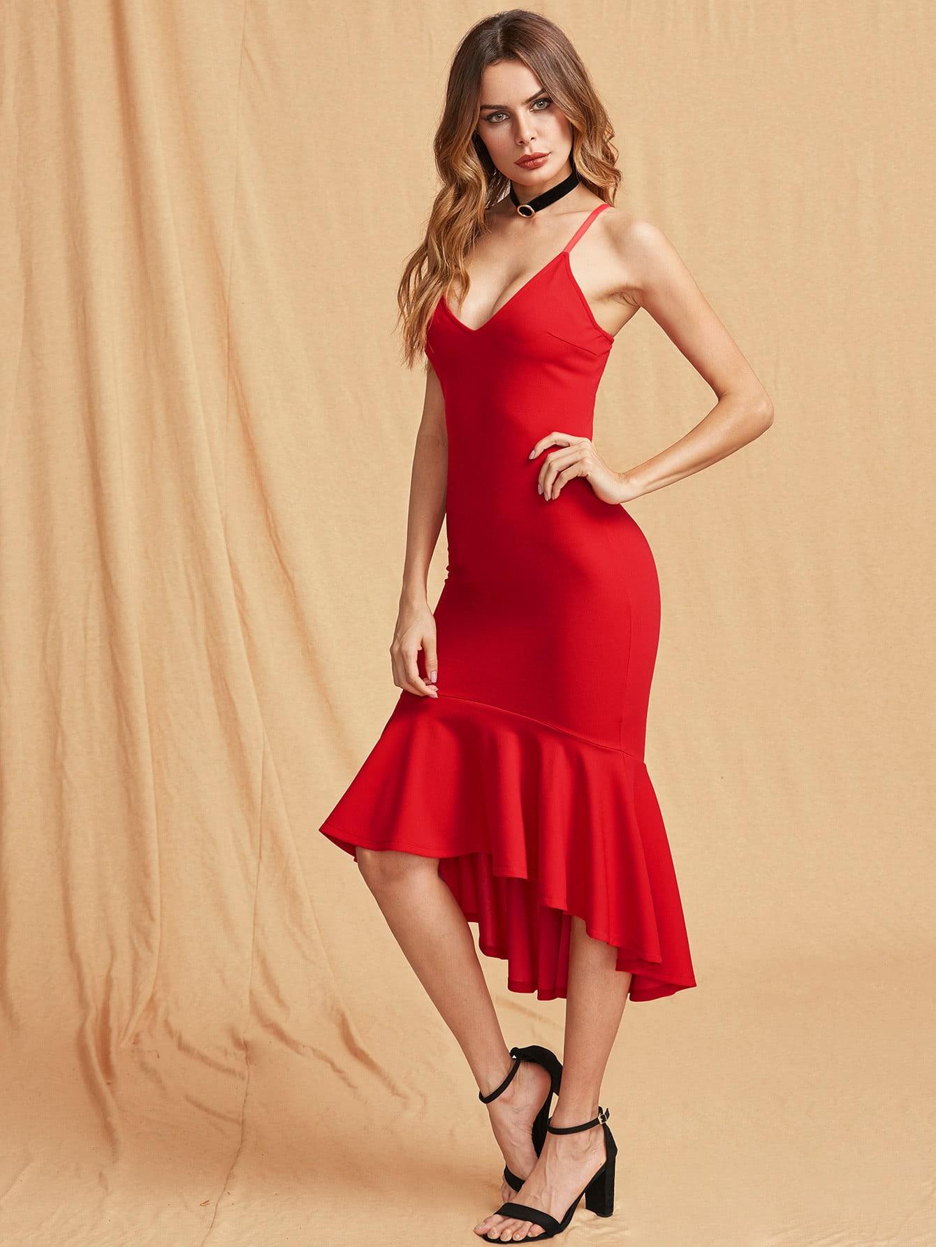 Фото Plunge Neck Asymmetric Frill Hem Dress. Купить с доставкой
