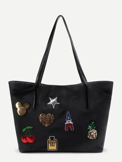 Sequin Cherry And Star Patch Tote Bag