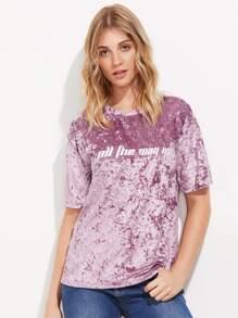 Tee-shirt brodé des lettres en velours