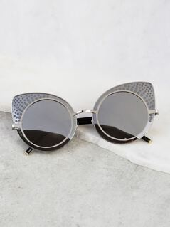Cat Eye Circular Sunnies GREY
