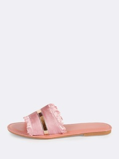 Satin Band Slip On Sandals MAUVE