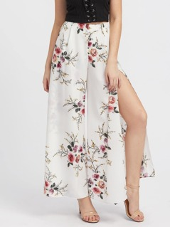 High Slit Floral Culotte Pants