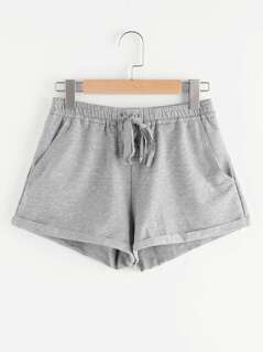 Lace Up Front Cuffed Heather Knit Sweat Shorts