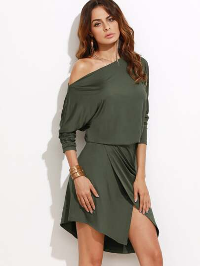 Oblique Shoulder Overlap Dress