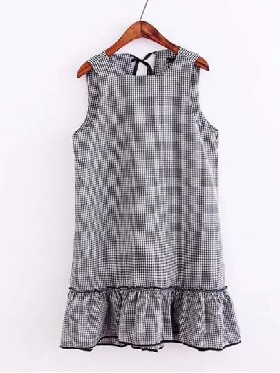 Tie Back Checked Ruffle Hem Dress