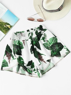 Jungle Leaf Print Smocked Waist Overlap Shorts