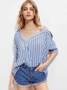 Asymmetric Cold Shoulder Striped Blouse