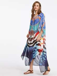 Mixed Print Slit Side Batwing Dress