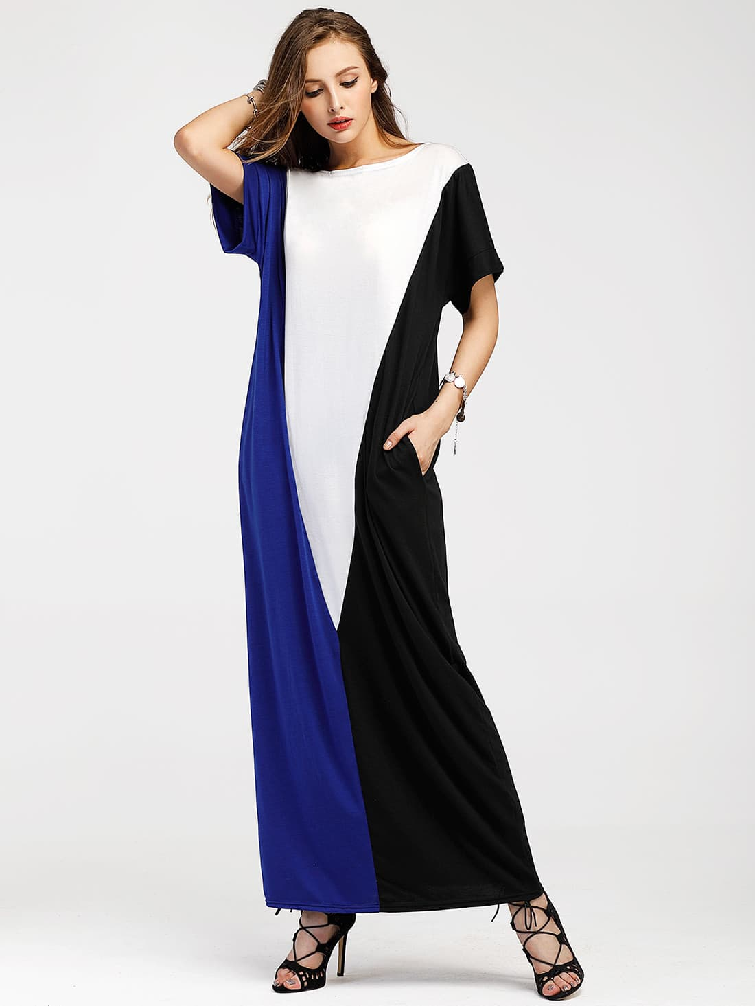 Color Block Full Length Dress With Pockets color block full length tee dress