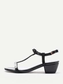 Bow Tie Detail T Strap Sandals