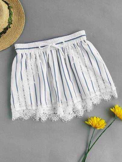 Shirred Waist Lace Applique Pinstripe Shorts