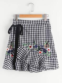 Self Tie Embroidered Asymmetric Ruffle Checkered Skirt