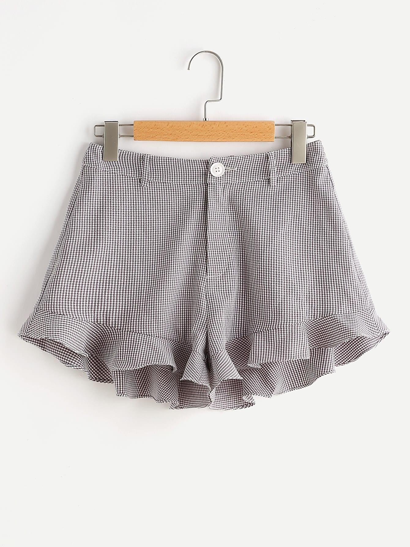 Фото Ruffle Hem Checkered Shorts. Купить с доставкой
