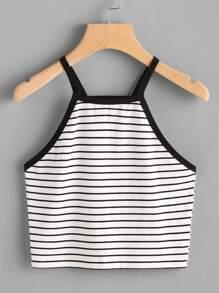 Contrast Binding Crop Striped Cami Top