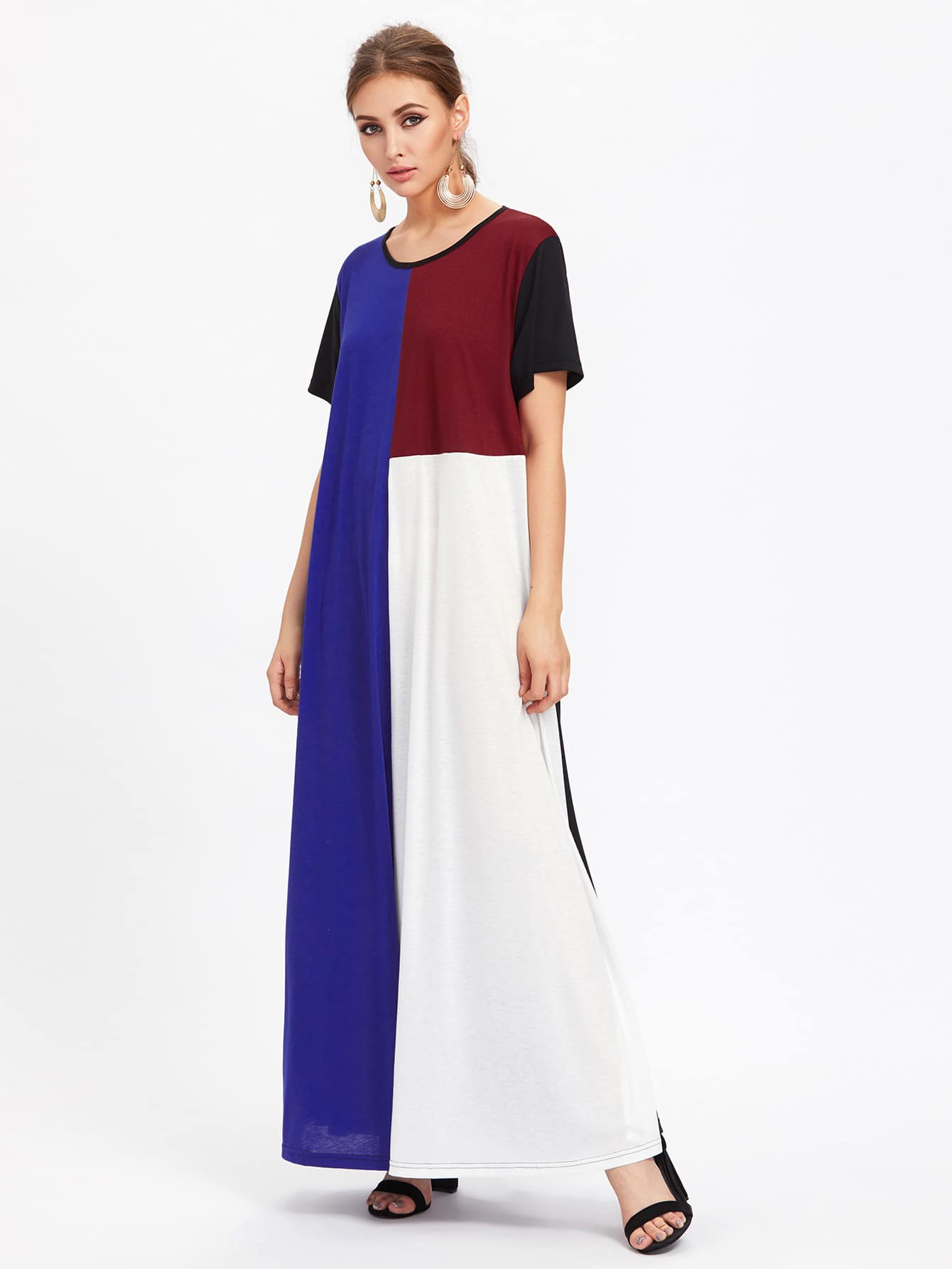 Color Block Full Length Tee Dress pocket full length tee dress
