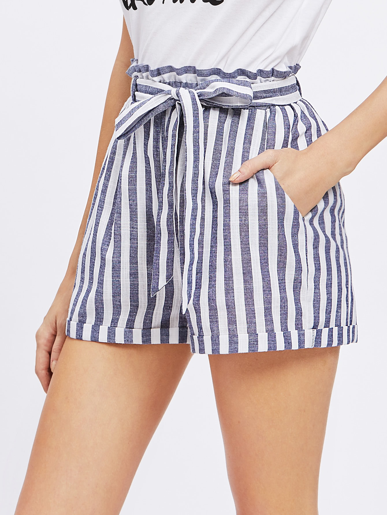 Frill Waist Self Belted Shorts