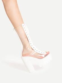 Zapatos de tacón cuadrado con diseño de transparencia y cordones
