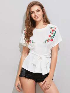 Symmetric Blossom Embroidery Fit & Flare Top