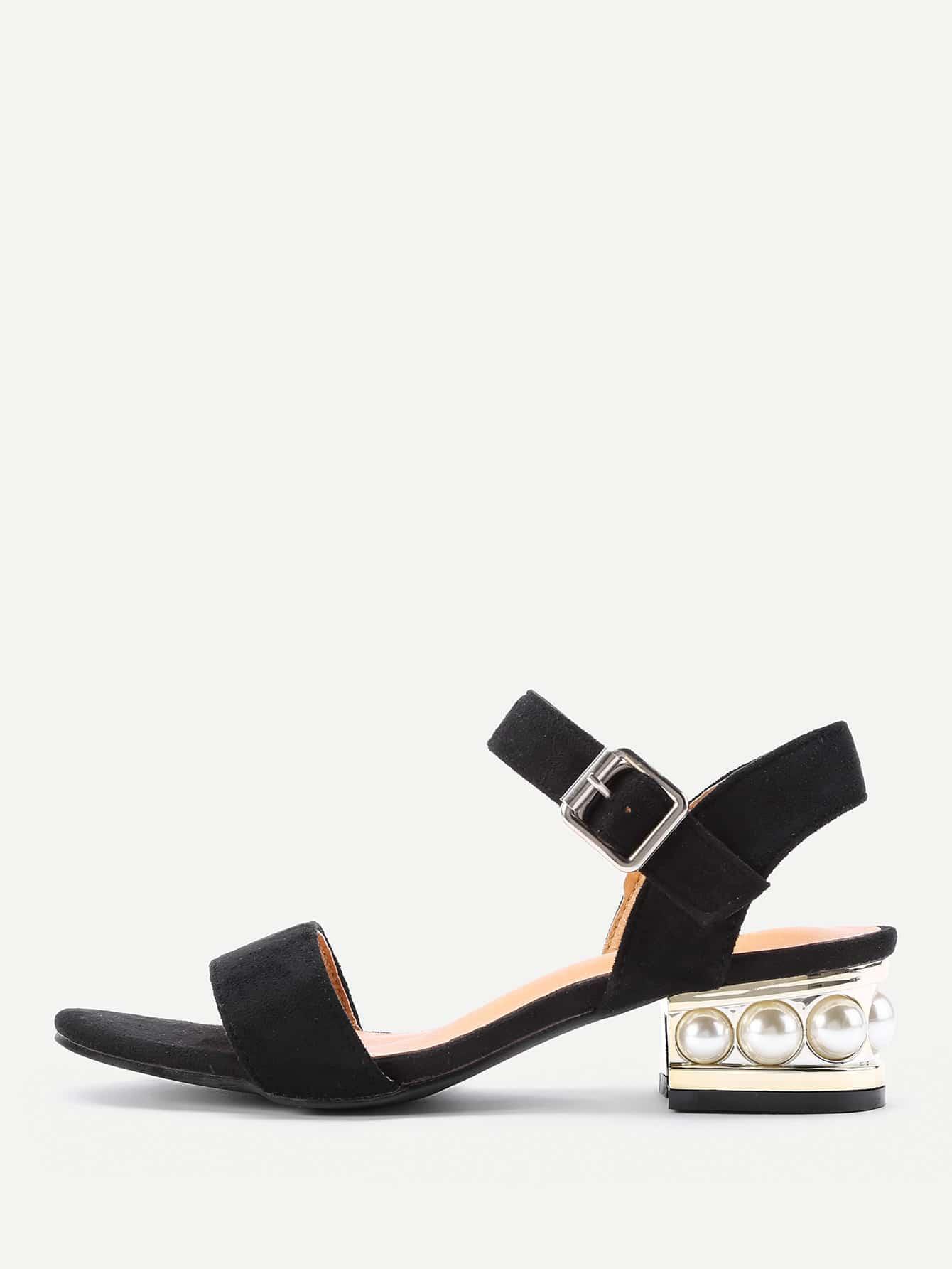 Фото Faux Pearl Embellished Block Heeled Sandals. Купить с доставкой