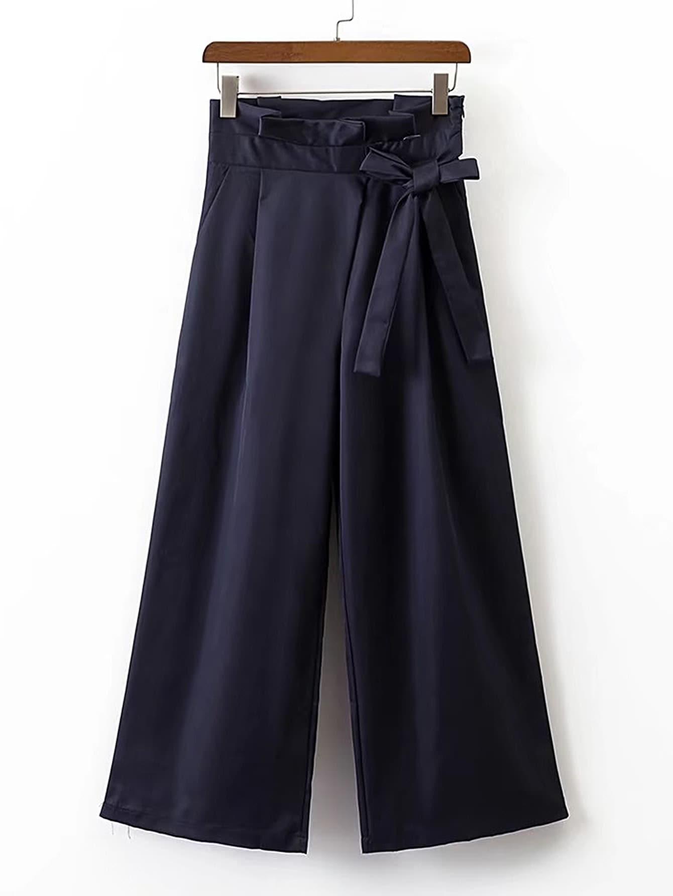 Фото Wide Leg Pants With Bow Detail. Купить с доставкой