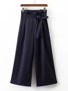 Wide Leg Pants With Bow Detail