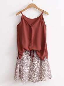Cami Top With Drawstring Waist Skirt