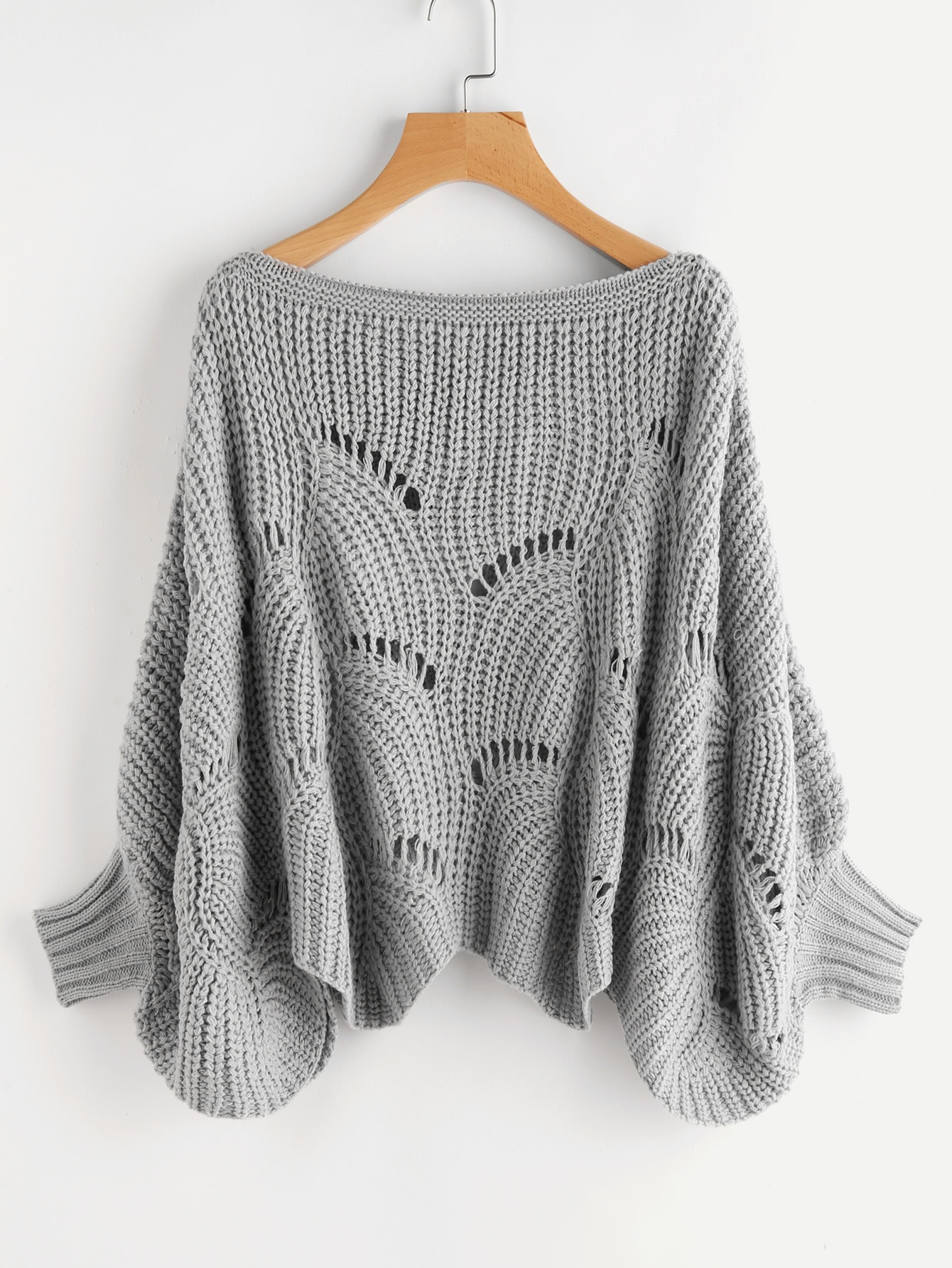 Hollow Out Scalloped Dolman Jumper