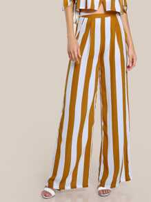 Fold Pleat Striped Palazzo Pants