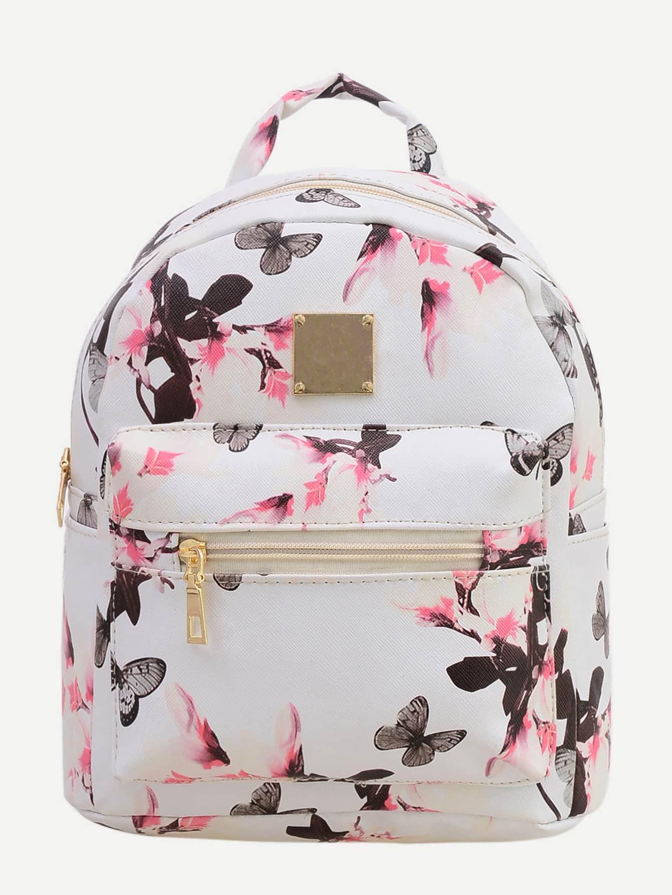 Allover Vintage Flower Print Backpack - White