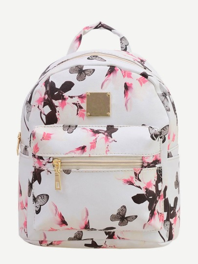 Allover Vintage Flower Print Backpack - White