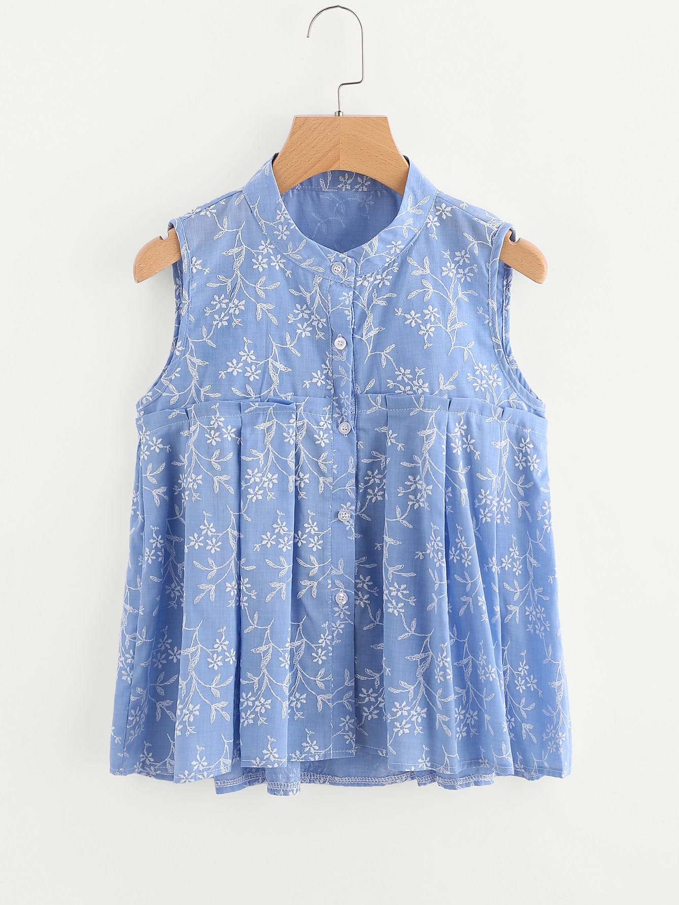 Random Calico Print Pleated Frill Blouse