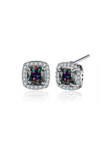 Faux Diamond Embellished Stud Earrings