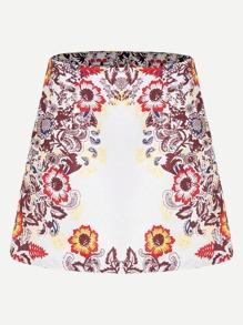Flower Print Jacquard Skirt