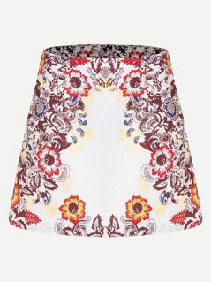 Flower Print Jacquard Skirt