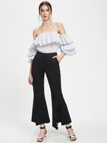 Frill Detail Slit Front Flare Pants