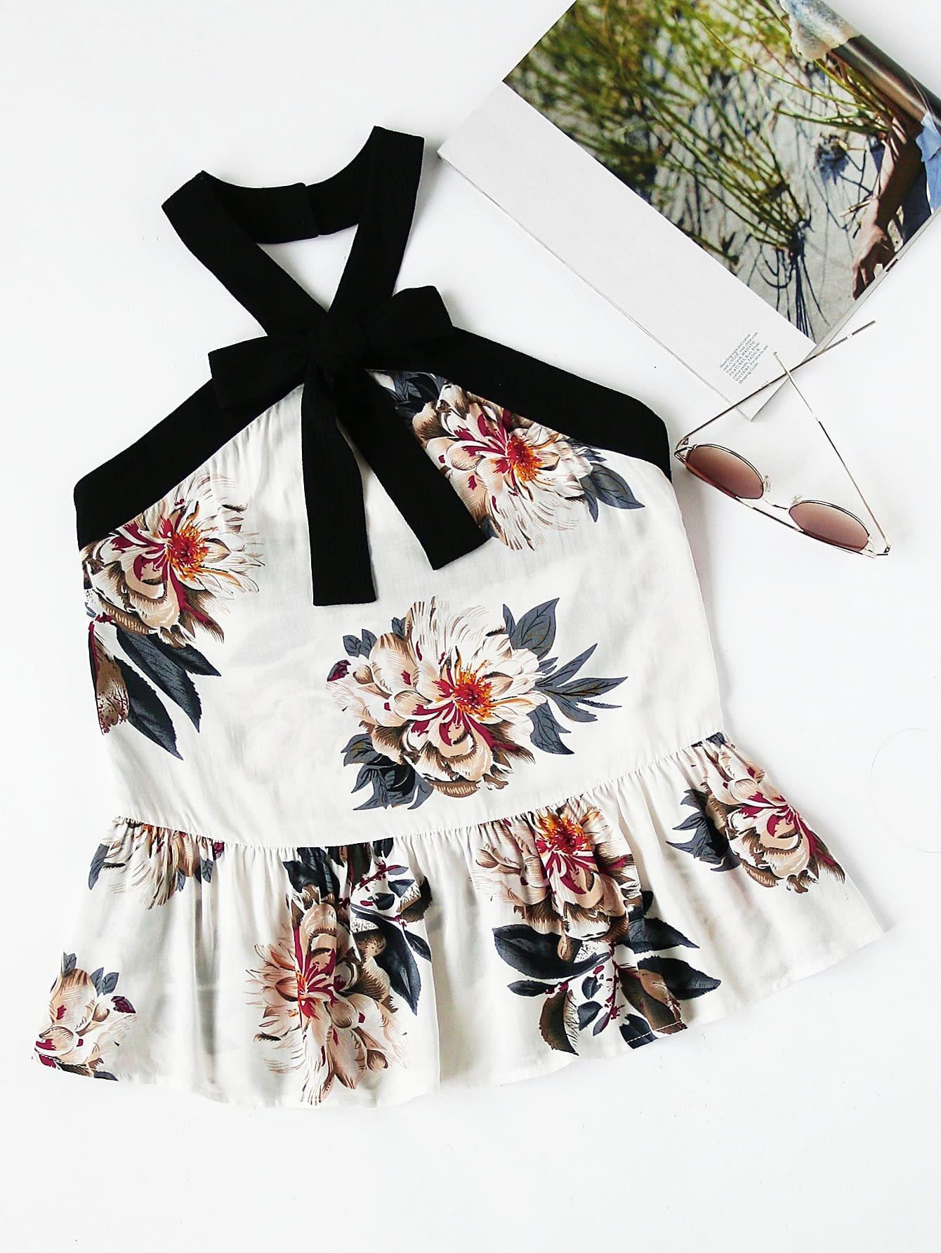 Фото Contrast Bow Front Floral Peplum Halter Top. Купить с доставкой