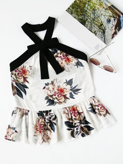 Contrast Bow Front Floral Peplum Halter Top