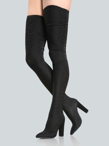 Sparkle Stretch Thigh High Booties BLACK